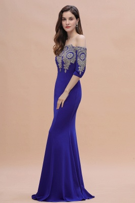 Designer Evening Dresses With Sleeves | King Blue Prom Dresses Long_11