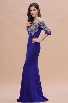 Designer Evening Dresses With Sleeves | King Blue Prom Dresses Long_10