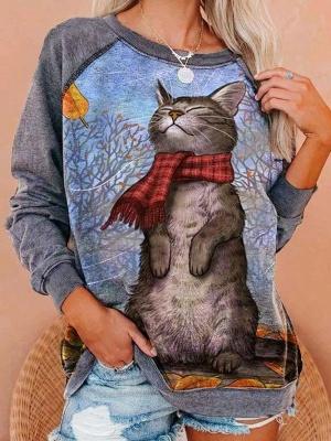 Blauer Pullover 3D Print | Sweetshirt Hoodie Bedrucken_1