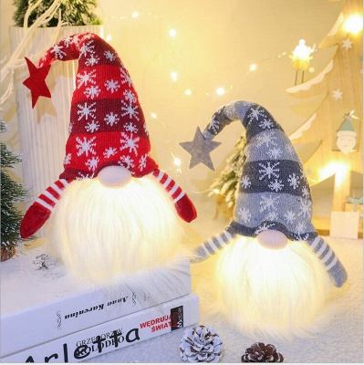 Christmas Decoration With Glowing Gnome Stuffed Light Faceless Dolls Ornaments Window Table Decoration Christmas Gift Party Supplies_7