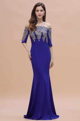Designer Evening Dresses With Sleeves | King Blue Prom Dresses Long_8