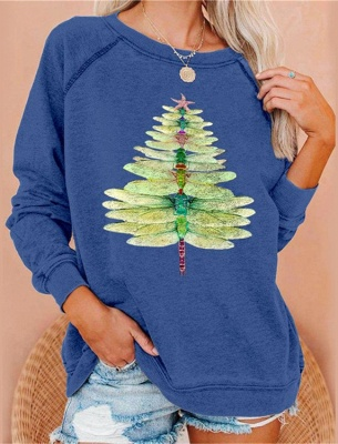Dragonfly Christmas tree sweater green | Christmas sweater women_2