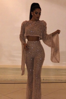 Luxury Evening Dress Gold 2 Piece Sequins Evening Dresses With Sleeves