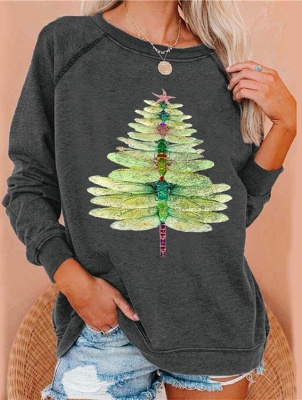 Dragonfly Christmas tree sweater green | Christmas sweater women_3