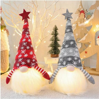 Christmas Decoration With Glowing Gnome Stuffed Light Faceless Dolls Ornaments Window Table Decoration Christmas Gift Party Supplies_5