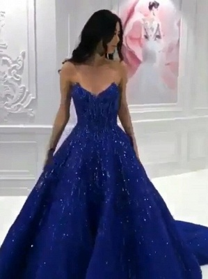 Luxury evening dresses long | Lace prom dresses king blue_1
