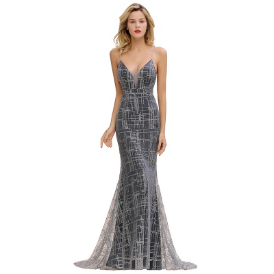 Silver evening dress with lace | Prom dresses long cheap_4