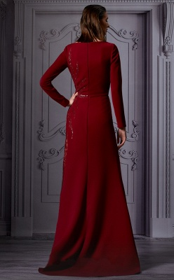 Evening dresses long glitter wine red | Prom dress with sleeves_2