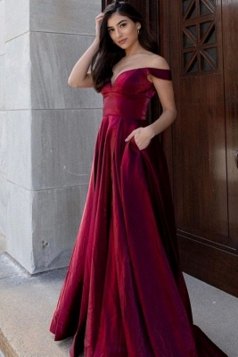 Simple evening dresses long cheap | Red evening wear ladies_1