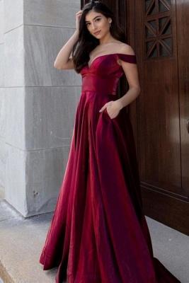 Schlichte Abendkleider Lang Günstig | Rote Abendmode Damen_1