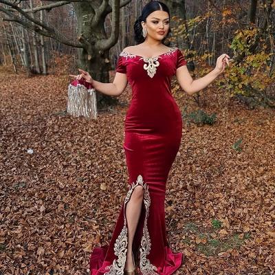 Weinrot Abendkleider Lang Günstig | Festliche kleider Velvet_2