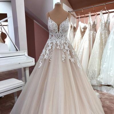 Designer Hochzeitskleider A Linie | Brautkleid V Ausschnitt Spitze_2