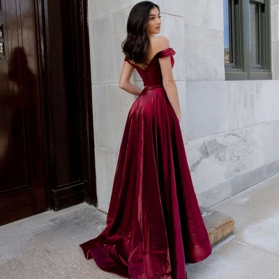 Simple evening dresses long cheap | Red evening wear ladies_2