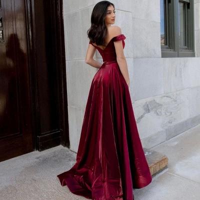 Schlichte Abendkleider Lang Günstig | Rote Abendmode Damen_2