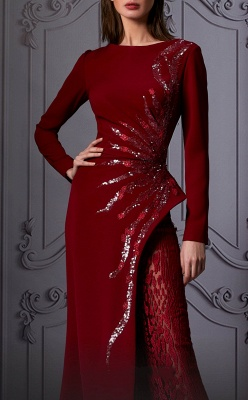Evening dresses long glitter wine red | Prom dress with sleeves_3