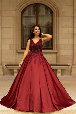 Red wedding dresses V neckline | Wedding dress A line lace_1
