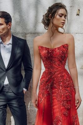 Evening dress red long cheap | Festive dresses prom dresses_5