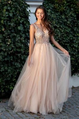 Schöne Abendkleider Lang V Ausschnitt | Günstige Abiballkleider Online