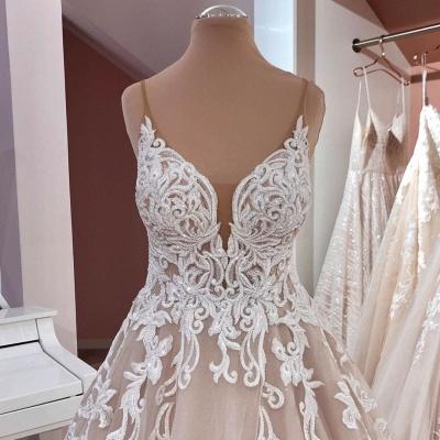 Designer wedding dresses A line | Wedding dress V neckline lace_5