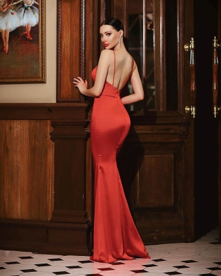 Plain evening dress red | Prom dresses long cheap_2
