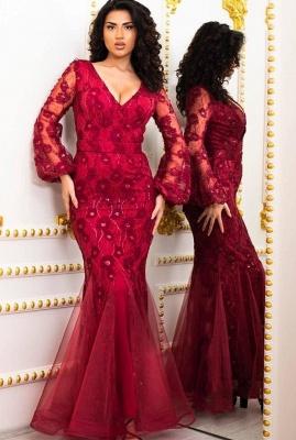 Elegante Abendkleider Lang Rot | Abendmoden mit Ärmel_3
