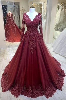 Modern evening dresses with sleeves | Red prom dresses cheap_1