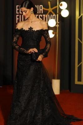 Elegante Spitze Abendkleider mit Ärmel | Abiballkleider Lang Schwarz