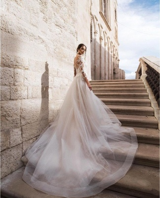 Günstige Hochzeitskleider A Linie | Brautkleid Spitze Kaufen_4