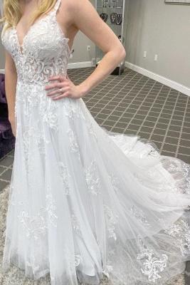 Schlichte Hochzeitskleider Günstig | Boho Brautkleid Spitze_1