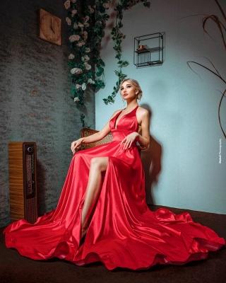 Red Evening Dress Long V Neck | Prom dresses under 100_2
