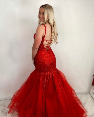 Red Prom Dresses Long Cheap | Evening dresses lace_2