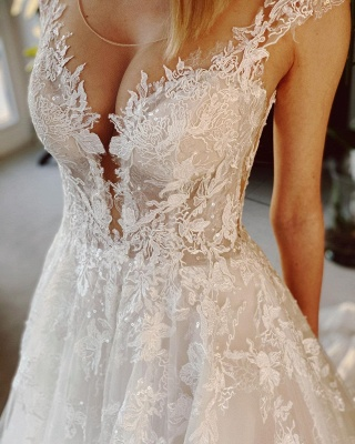 Wedding dress registry office | Wedding dress a line with lace_4