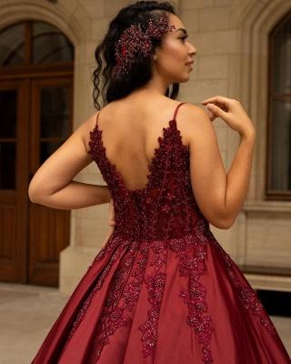 Red wedding dresses V neckline | Wedding dress A line lace_3