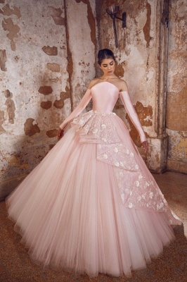 Evening dress long pink | Prom dresses with sleeves_1