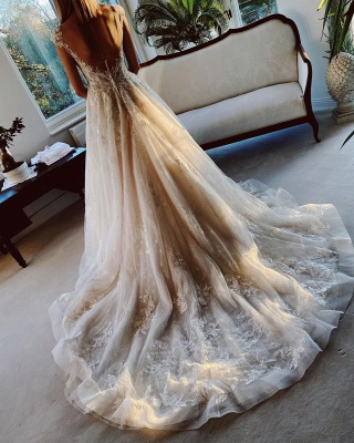 Wedding dress registry office | Wedding dress a line with lace_3