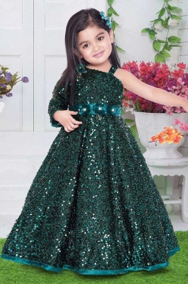 Green Flower Girl Dresses Cheap | Wedding party dresses glitter