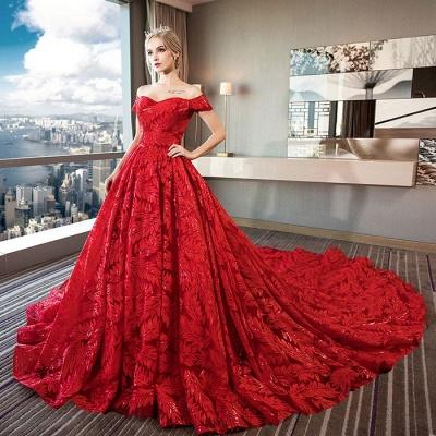 Red wedding dresses | wedding dress lace a line_2