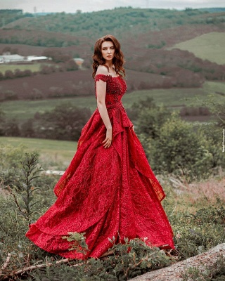 Red Prom Dresses Cheap | Evening dresses long lace_2