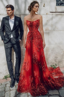 Evening dress red long cheap | Festive dresses prom dresses_2