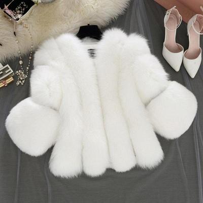 Fur women coat white winter coat cheap_5