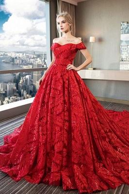 Red wedding dresses | wedding dress lace a line_1