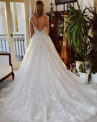Wedding dress registry office | Wedding dress a line with lace_2