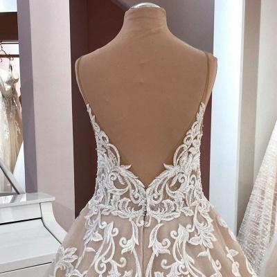 Designer wedding dresses A line | Wedding dress V neckline lace_4