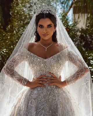 Extravagante Brautkleider A Linie | Hochzeitskleider mit Ärmel_7