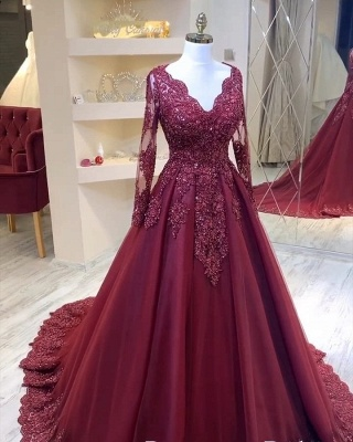 Modern evening dresses with sleeves | Red prom dresses cheap_2