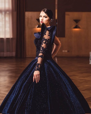 Princess Evening Dresses With Sleeves | Long glitter prom dresses_3