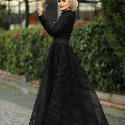 Elegant Evening Dresses Long Black | Evening dress with lace_4
