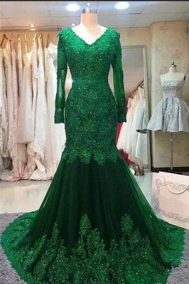Green evening dress | Evening dresses long with sleeves_1