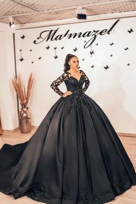 Schwarze Brautkleider mit Ärmel | Prinzessin Hochzeitskleider Spitze_1