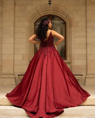 Red wedding dresses V neckline | Wedding dress A line lace_2